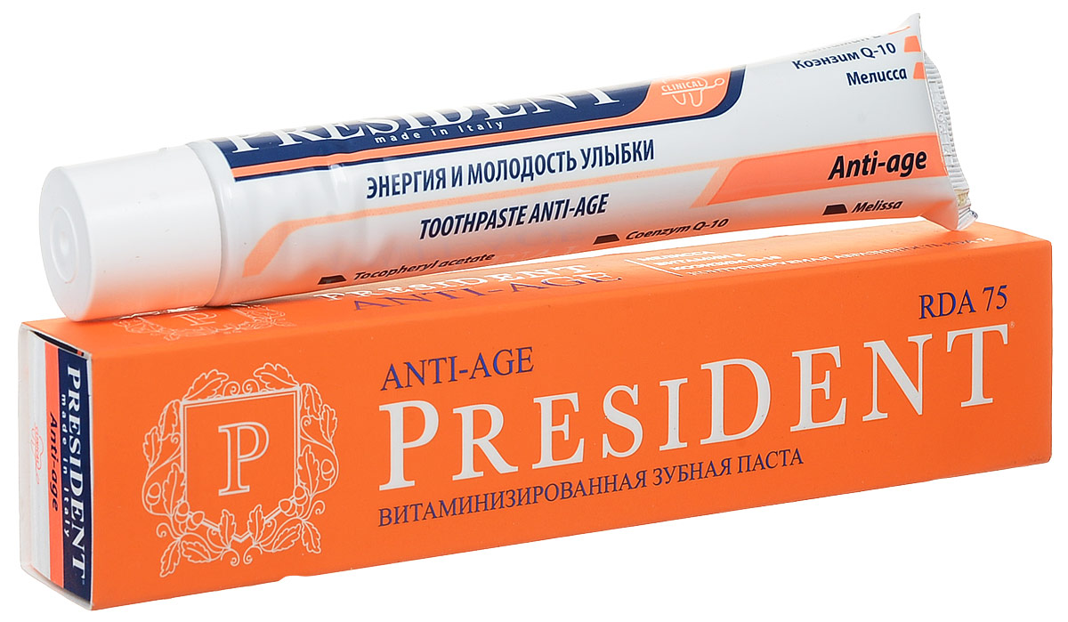 President зубная паста Anti-age, при чувствительности зубов, 75мл11095Первая в России антивозрастная зубная паста. Борется с 5 основными проблемами, вызывающих старение зубов и десен: потеря белизны зубов; эрозия зубной эмали; гиперчувствительность; дефицит витаминов и минералов; опущение десны. Не имеет аналогов. RDA 75