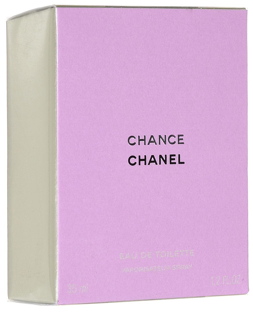 Chanel Chance туалетная вода женская, 35 мл01817Chance Eau de Toilette Chanel - это аромат для женщин, принадлежит к группе ароматов шипровые цветочные. Chance Eau de Toilette выпущен в 2003. Парфюмер: Jacques Polge. Верхние ноты: Ананас, Ирис, Пачули, Розовый перец и Гиацинт; ноты сердца: Жасмин и Лимон; ноты базы: Мускус, Пачули, Ваниль и Ветивер.