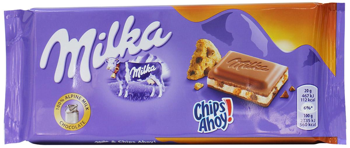Milka Шоколад Chips Ahoy молочный шоколад с кусочками печенья, 100 г ritter sport мята шоколад темный с мятной начинкой 100 г