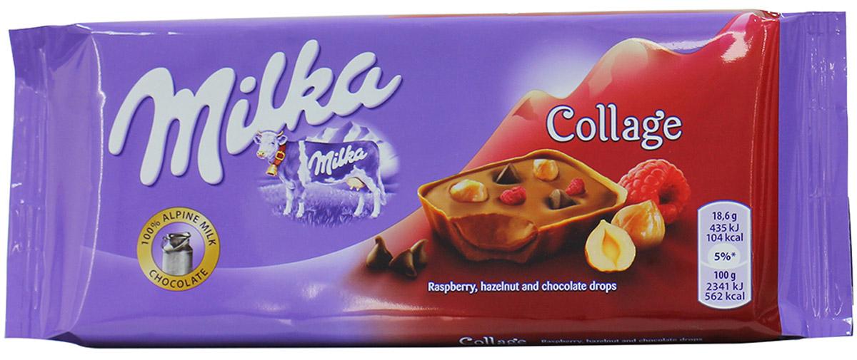 Milka Шоколад Сollage Fruit, молочный шоколад с фундуком, сушеной малиной и шоколадными каплями, 93 г milka cake