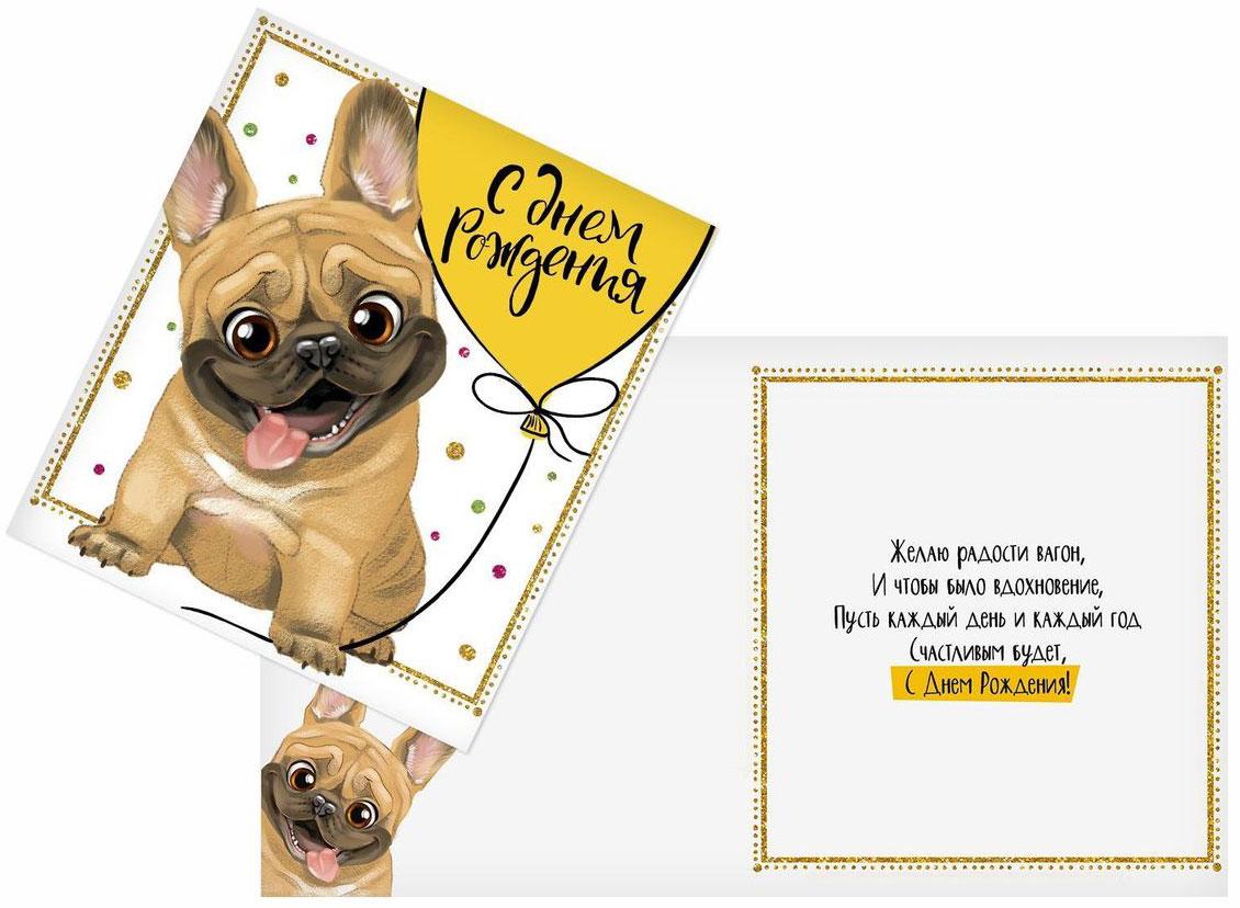 """Выразить свои чувства и дополнить основной подарок тёплыми словами вам поможет открытка """"С Днем Рождения. Мопс""""."""
