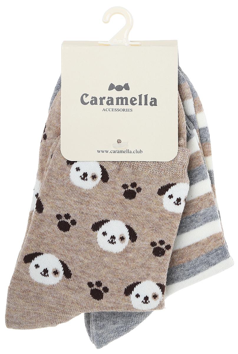 Носки женские Kawaii Factory Щенки, цвет: коричневый, серый, 2 пары. 2000000220000. Размер 36/38 шарфы kawaii factory шарф объемный серый