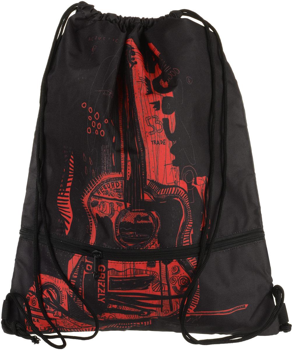 Сумка для сменной обуви и одежды Grizzly, цвет: красный. OM-791-1/3OM-791-1/3Объемный мешок для обуви, два отделения, нижнее отделение на молнии, дополнительная ручка-петля, лямки из шнура