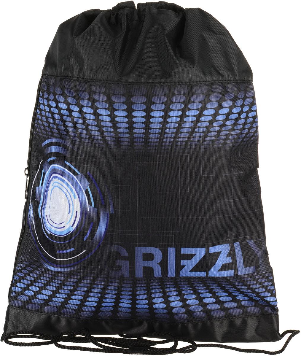 Сумка для сменной обуви и одежды Grizzly, цвет: темно-синий. OM-792-3/3OM-792-3/3Рюкзак-мешок для обуви с одним отделением и карманом на молнии, верх мешка стягивается шнуром в кулиске, который является еще и лямками, с ручкой-петлей