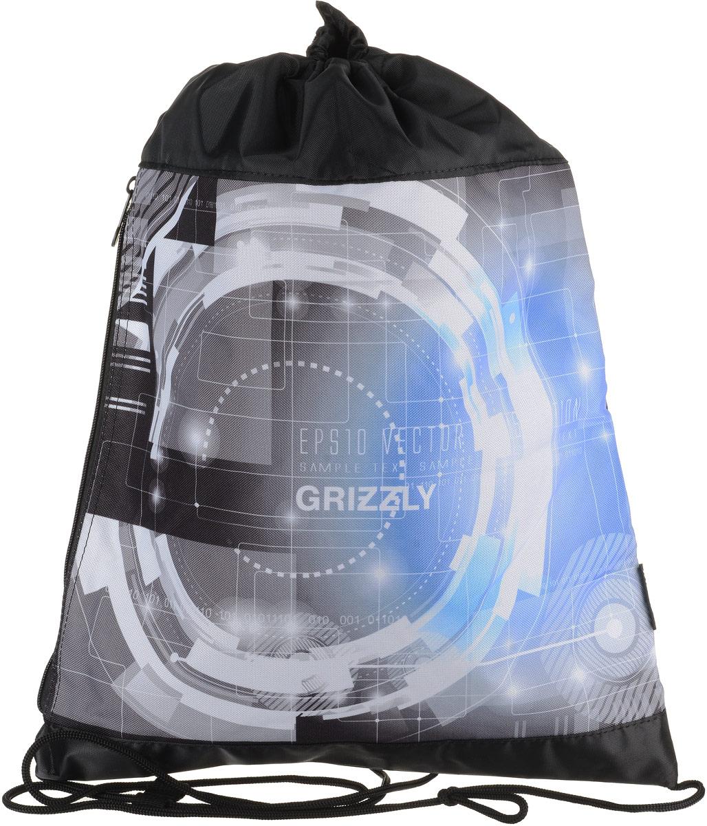Сумка для сменной обуви и одежды Grizzly, цвет: голубой. OM-792-3/2OM-792-3/2Рюкзак-мешок для обуви с одним отделением и карманом на молнии, верх мешка стягивается шнуром в кулиске, который является еще и лямками, с ручкой-петлей