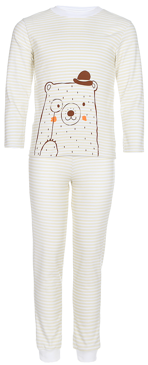 Пижама для девочки КотМарКот, цвет: бежевый, молочный. 16120. Размер 10416120Пижама для девочки КотМарКот, состоящая из лонгслива и брюк, выполнена из натурального хлопка. Лонгслив с длинными рукавами и круглым вырезом горловины. Брюки имеют эластичную резинку на талии. Низ брючин дополнен трикотажными манжетами.