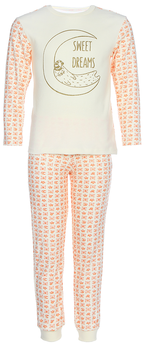 Пижама для девочки КотМарКот, цвет: белый, оранжевый. 16125. Размер 11616125Пижама для девочки КотМарКот, состоящая из лонгслива и брюк, выполнена из натурального хлопка. Лонгслив с длинными рукавами и круглым вырезом горловины. Брюки имеют эластичную резинку на поясе. Низ брючин дополнен трикотажными манжетами.