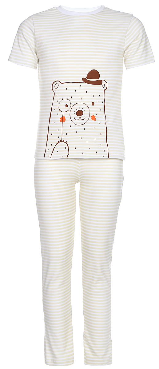 Пижама для девочки КотМарКот, цвет: бежевый, молочный. 16220. Размер 12216220Пижама для девочки КотМарКот, состоящая из футболки и брюк, выполнена из натурального хлопка. Футболка с короткими рукавами и круглым вырезом горловины. Брюки прямого кроя имеют эластичную резинку на поясе.