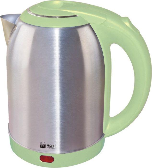 Home Element HE-KT155, Pistachio чайник электрическийHE-KT155Home Element HE-KT155 - отличный чайник на 2 литра для большой семьи, мощностью 1800 Вт. Вскипятит воду быстро. Автоматика отключит чайник, если в нем нет воды или она вскипела! Для удобства пользования чайник снабжен индикатором работы, и кнопкой открытия крышки. Закрытый нагревательный элемент избавит от коррозии и накипи.