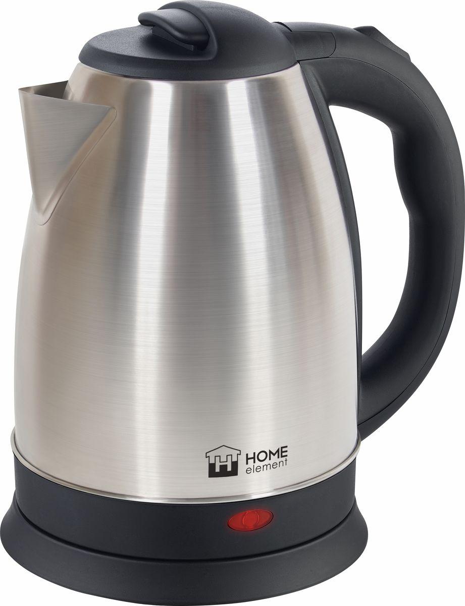 Home Element HE-KT158, Black Steel чайник электрическийHE-KT158Отличный электрический чайник Home Element HE-KT158 на 2 литра для большой семьи, мощностью 1800 Вт.Вскипятит воду быстро. Автоматика отключит чайник, если в нем нет воды или она вскипела! Для удобства использования чайник снабжен индикатором работы и кнопкой открытия крышки. Закрытый нагревательный элемент избавит от коррозии и накипи.