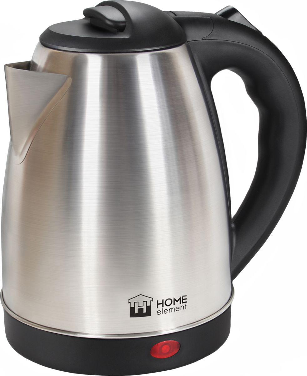 Home Element HE-KT161, Black Steel чайник электрическийHE-KT161Отличный электрический чайник Home Element HE-KT161 на 2 литра для большой семьи, мощностью 1800 Вт. Вскипятит воду быстро. Автоматика отключит чайник, если в нем нет воды или она вскипела! Для удобства использования чайник снабжен индикатором работы и кнопкой открытия крышки. Закрытый нагревательный элемент избавит от коррозии и накипи.
