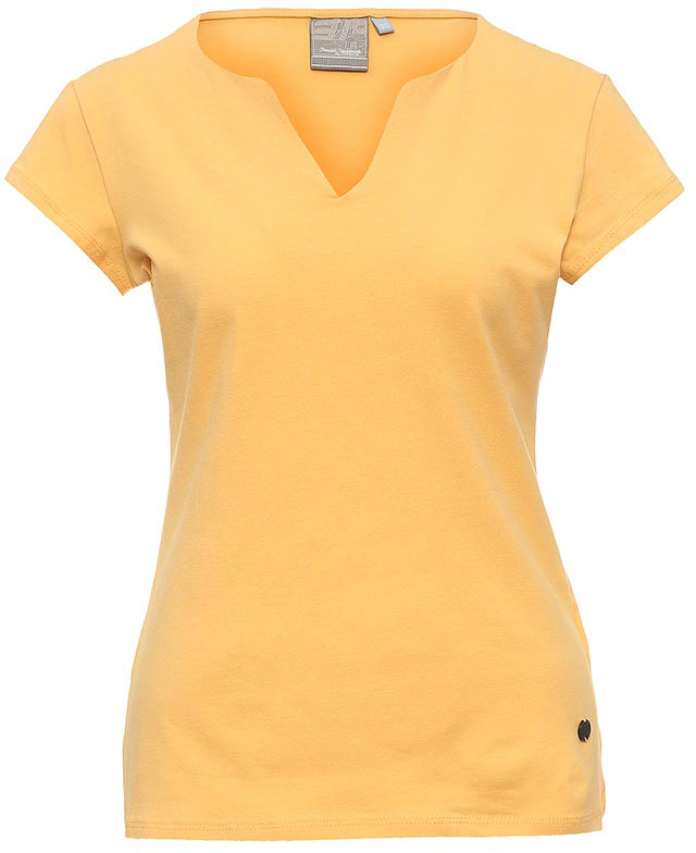 Футболка женская Icepeak, цвет: желтый. 754723591IV. Размер 36 (42)754723591IVСтильная футболка Icepeak изготовлена из натурального хлопка с добавлением эластана. Модель прямого кроя выполнена с V-образной горловиной и короткими рукавами.