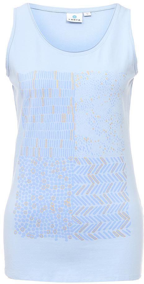 Майка женская Luhta, цвет: голубой. 737229591LV. Размер XL (50)737229591LVМайка женская Luhta выполнена из высококачественного материала. Модель с круглым вырезом горловины оформлена оригинальным принтом.