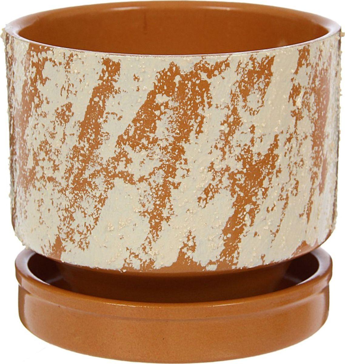 Кашпо Рельеф, цвет: коричневый, 13 х 13 х 12 см1422007