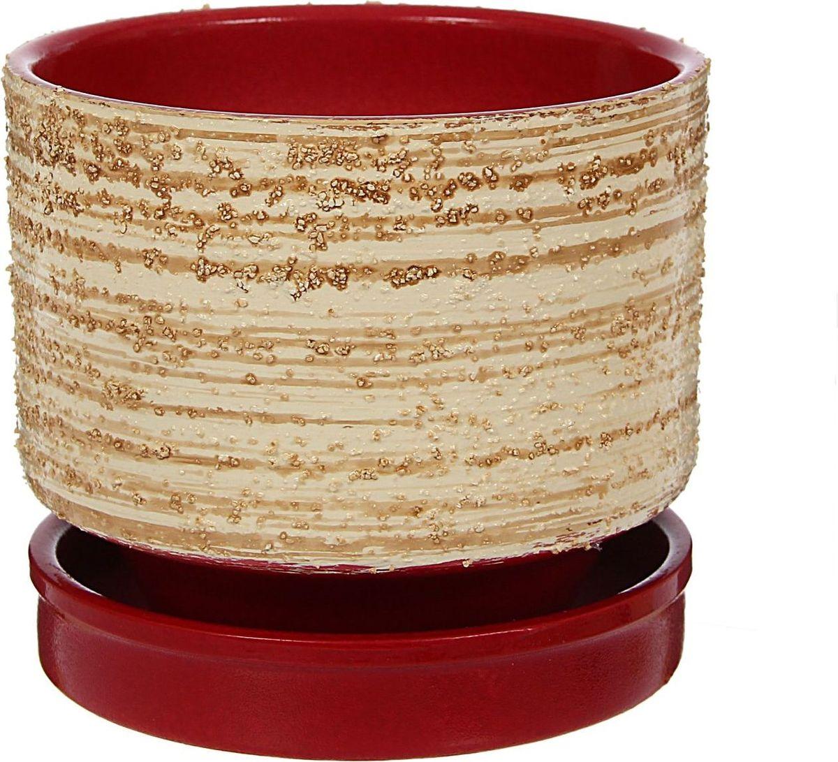 Кашпо Рельеф, цвет: бордовый, 13 х 13 х 12 см1422008