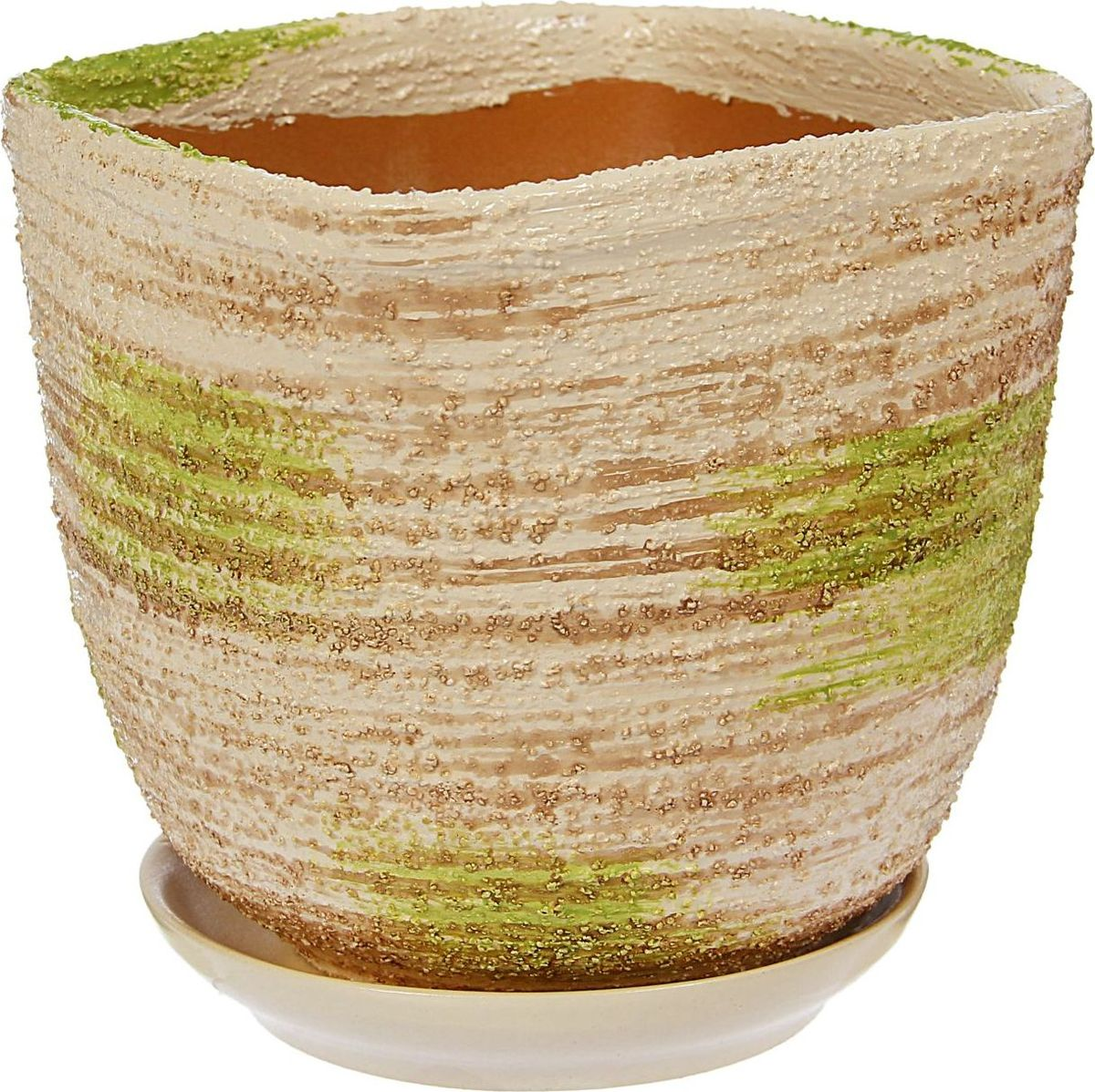 Кашпо Симфония, цвет: белый, зеленый, 14 х 14 х 14 см1422013