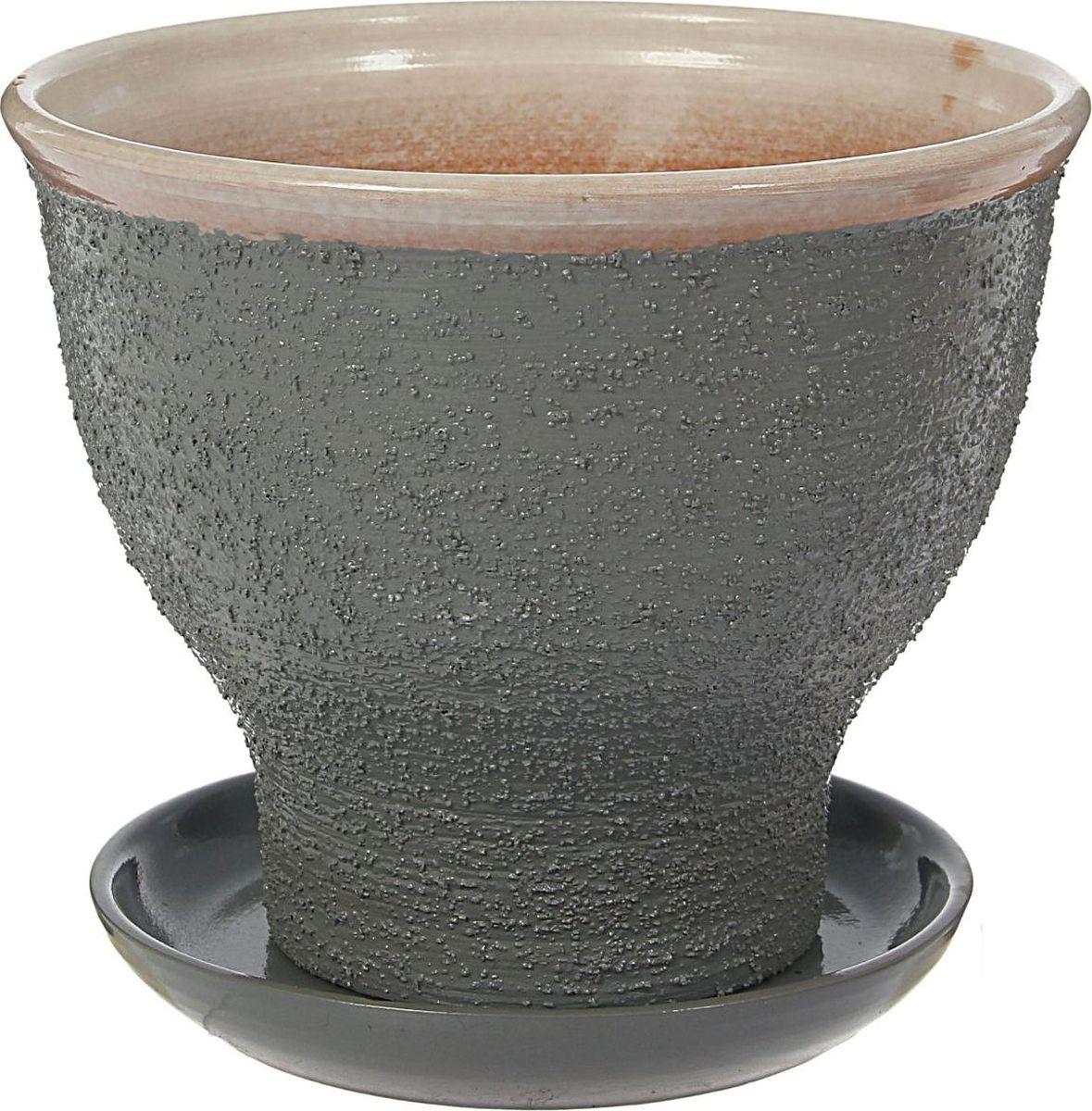 Кашпо Белла, цвет: серый, 18 х 18 х 15 см1422017