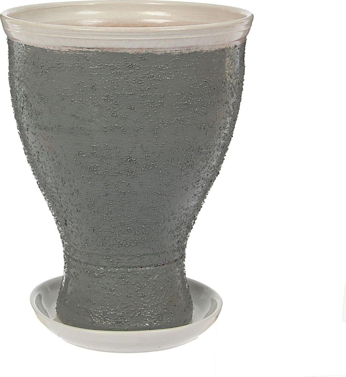 Кашпо Белла, цвет: серый, 20 х 20 х 26 см1422024