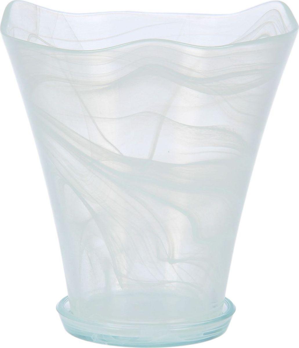 Кашпо NiNaGlass Кристина, с поддоном, цвет: белый, 19 х 19 х 20 см1428542Комнатные растения — всеобщие любимцы. Они радуют глаз, насыщают помещение кислородом и украшают пространство. Каждому цветку необходим свой удобный и красивый дом. Из-за прозрачности стекла такие декоративные вазы для горшков пользуются большой популярностью для выращивания орхидей. позаботится о зеленом питомце, освежит интерьер и подчеркнет его стиль!