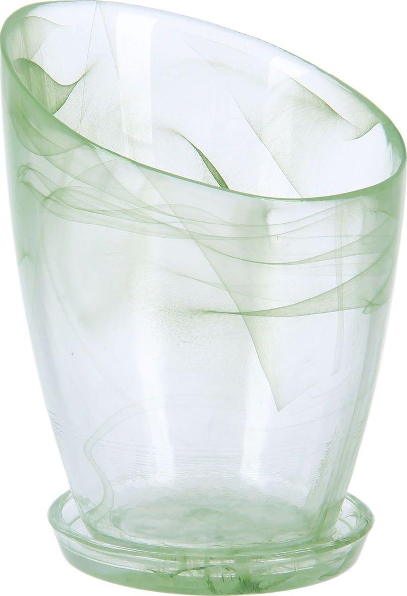 Кашпо NiNaGlass Шерон, с поддоном, цвет: зеленый, 13 х 13 х 19 см1428551