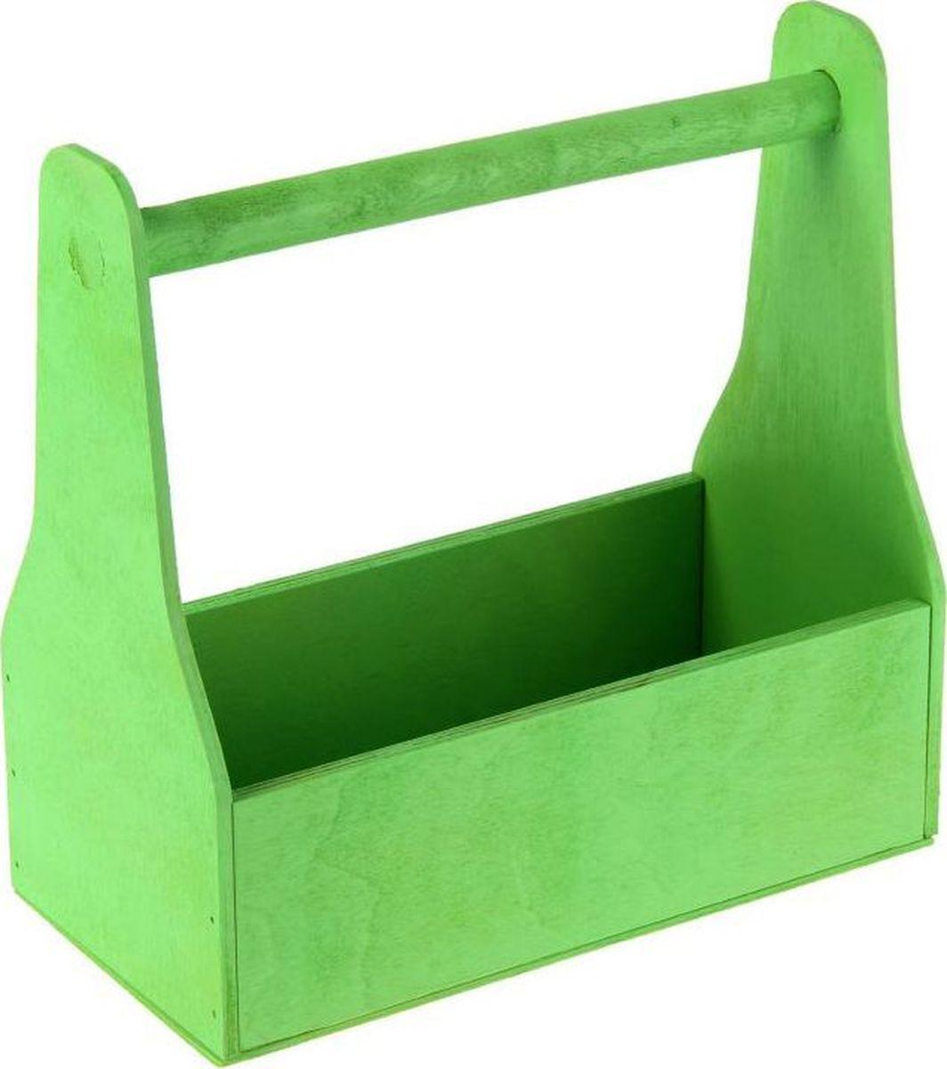 Кашпо флористическое, цвет: зеленый, 11 х 24 х 20 см