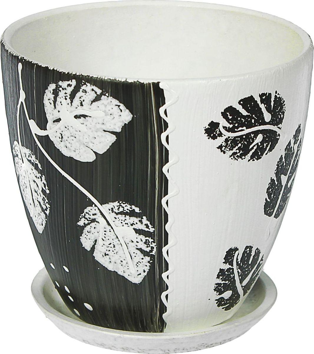 Кашпо Акварель, цвет: черный, белый, 0,8 л1437926Комнатные растения — всеобщие любимцы. Они радуют глаз, насыщают помещение кислородом и украшают пространство. Каждому из них необходим свой удобный и красивый дом. Кашпо из керамики прекрасно подходят для высадки растений: за счёт пластичности глины и разных способов обработки существует великое множество форм и дизайновпористый материал позволяет испаряться лишней влагевоздух, необходимый для дыхания корней, проникает сквозь керамические стенки! #name# позаботится о зелёном питомце, освежит интерьер и подчеркнёт его стиль.