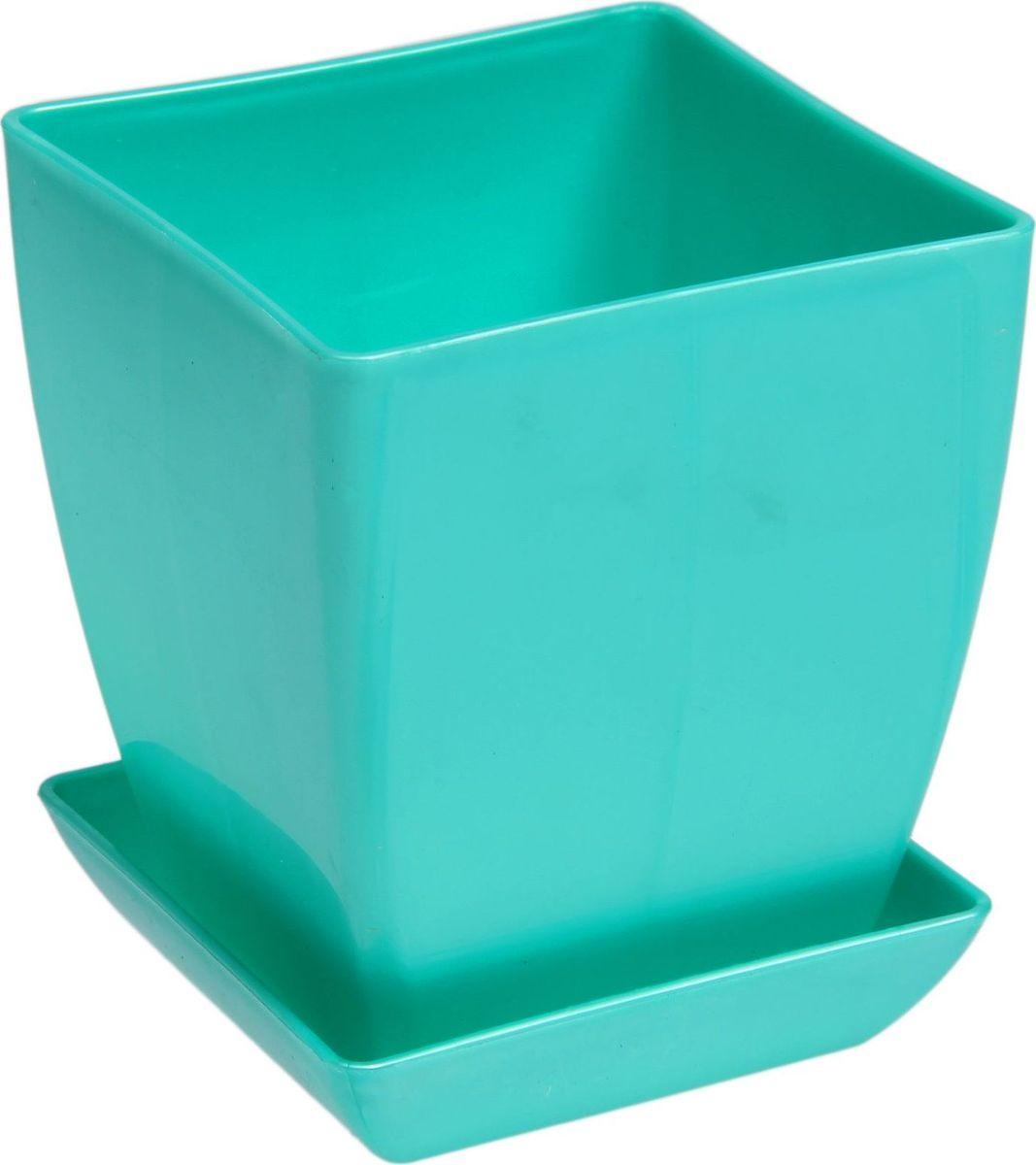 Горшок для цветов Квадрат, с поддоном, цвет: зеленый, 0,3 л1459531Любой, даже самый современный и продуманный интерьер будет незавершенным без растений. Они не только очищают воздух и насыщают его кислородом, но и украшают окружающее пространство. Такому полезному члену семьи просто необходим красивый и функциональный дом! Оптимальный выбор материала - пластмасса! Почему мы так считаем?- Малый вес. С легкостью переносите горшки и кашпо с места на место, ставьте их на столики или полки, не беспокоясь о нагрузке.- Простота ухода. Кашпо не нуждается в специальных условиях хранения. Его легко чистить - достаточно просто сполоснуть теплой водой.- Никаких потертостей. Такие кашпо не царапают и не загрязняют поверхности, на которых стоят.- Пластик дольше хранит влагу, а значит, растение реже нуждается в поливе. Пластмасса не пропускает воздух - корневой системе растения не грозят резкие перепады температур.- Огромный выбор форм, декора и расцветок - вы без труда найдете что-то, что идеально впишется в уже существующий интерьер.Соблюдая нехитрые правила ухода, вы можете заметно продлить срок службы горшков и кашпо из пластика: всегда учитывайте размер кроны и корневой системы (при разрастании большое растение способно повредить маленький горшок) берегите изделие от воздействия прямых солнечных лучей, чтобы горшки не выцветали держите кашпо из пластика подальше от нагревающихся поверхностей. Создавайте прекрасные цветочные композиции, выращивайте рассаду или необычные растения.