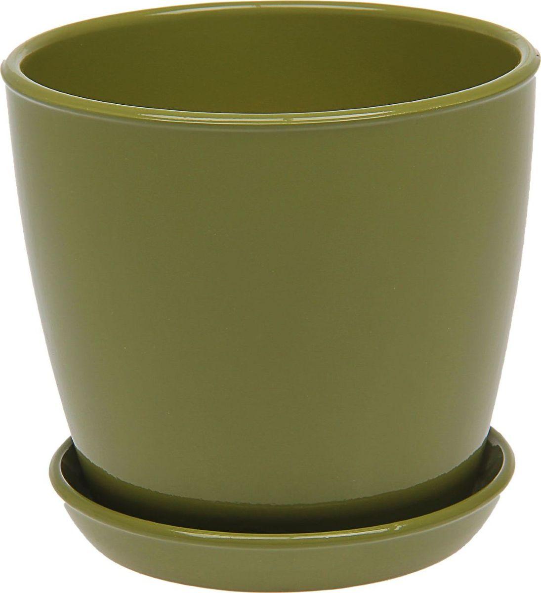 Кашпо Керамика ручной работы Виктория, цвет: оливковый, 4 л подставки для кашпо
