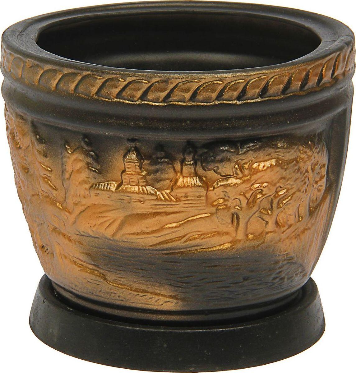 Кашпо Керамика ручной работы Лес, цвет: черный, 4 л1465262Комнатные растения — всеобщие любимцы. Они радуют глаз, насыщают помещение кислородом и украшают пространство. Каждому из них необходим свой удобный и красивый дом. Кашпо из керамики прекрасно подходят для высадки растений: за счет пластичности глины и разных способов обработки существует великое множество форм и дизайнов пористый материал позволяет испаряться лишней влаге воздух, необходимый для дыхания корней, проникает сквозь керамические стенки! позаботится о зеленом питомце, освежит интерьер и подчеркнет его стиль.