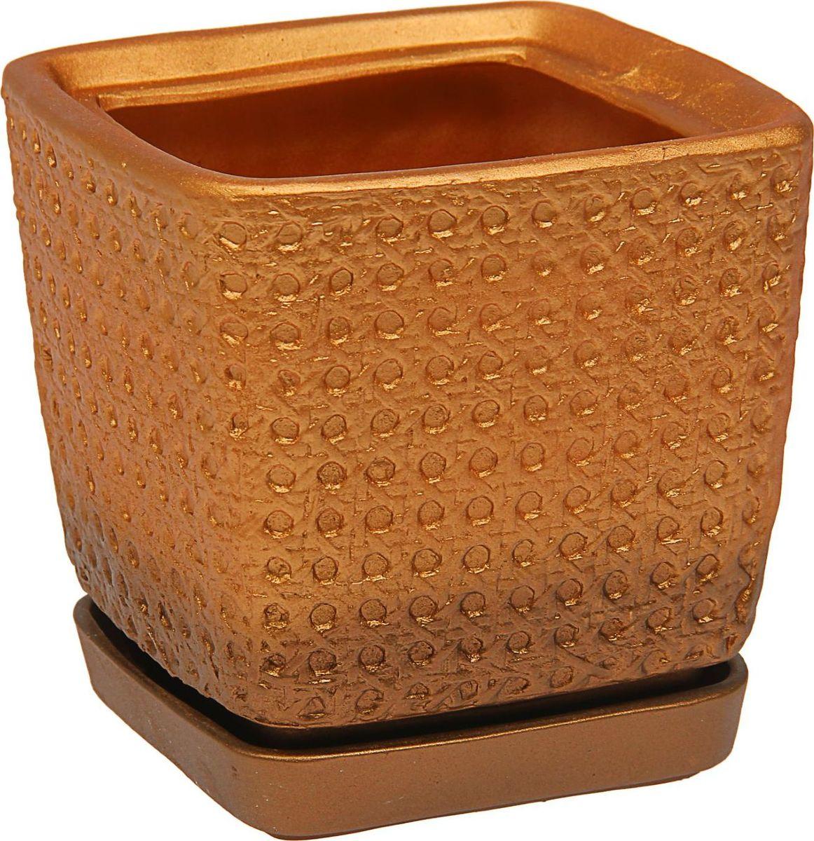 Кашпо Керамика ручной работы Квадрат, цвет: бронзовый, 2 л1465279Комнатные растения — всеобщие любимцы. Они радуют глаз, насыщают помещение кислородом и украшают пространство. Каждому из них необходим свой удобный и красивый дом. Кашпо из керамики прекрасно подходят для высадки растений: за счёт пластичности глины и разных способов обработки существует великое множество форм и дизайновпористый материал позволяет испаряться лишней влагевоздух, необходимый для дыхания корней, проникает сквозь керамические стенки! #name# позаботится о зелёном питомце, освежит интерьер и подчеркнёт его стиль.
