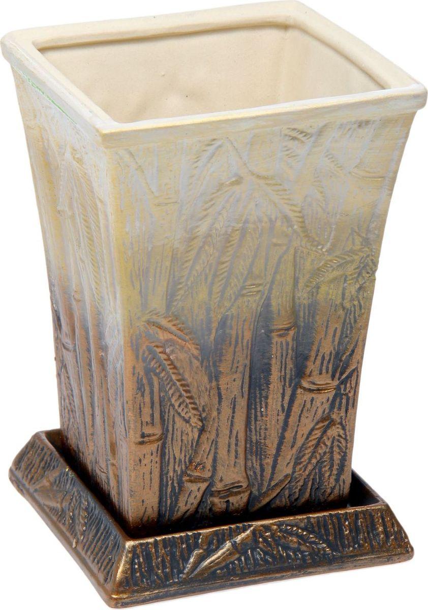Кашпо Керамика ручной работы Бамбук, 2 л1475894Комнатные растения — всеобщие любимцы. Они радуют глаз, насыщают помещение кислородом и украшают пространство. Каждому из них необходим свой удобный и красивый дом. Кашпо из керамики прекрасно подходят для высадки растений: за счёт пластичности глины и разных способов обработки существует великое множество форм и дизайновпористый материал позволяет испаряться лишней влагевоздух, необходимый для дыхания корней, проникает сквозь керамические стенки! #name# позаботится о зелёном питомце, освежит интерьер и подчеркнёт его стиль.