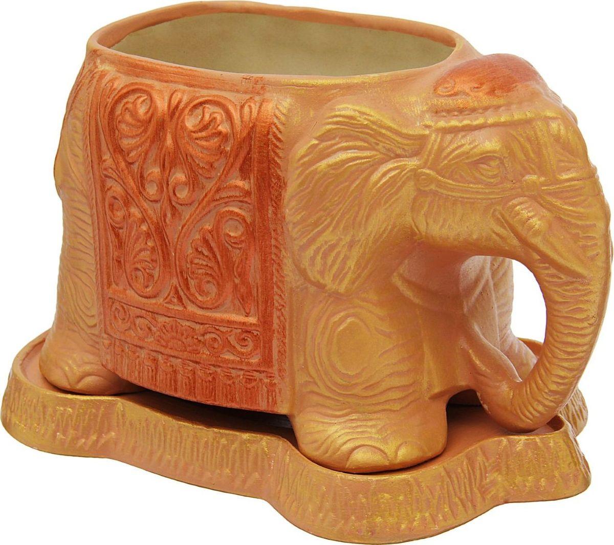Кашпо Керамика ручной работы Слоник, цвет: золотистый, 1,8 л1475904Комнатные растения — всеобщие любимцы. Они радуют глаз, насыщают помещение кислородом и украшают пространство. Каждому из растений необходим свой удобный и красивый дом. Поселите зелёного питомца в яркое и оригинальное фигурное кашпо. Выберите подходящую форму для детской, спальни, гостиной, балкона, офиса или террасы. #name# позаботится о растении, украсит окружающее пространство и подчеркнёт его оригинальный стиль.