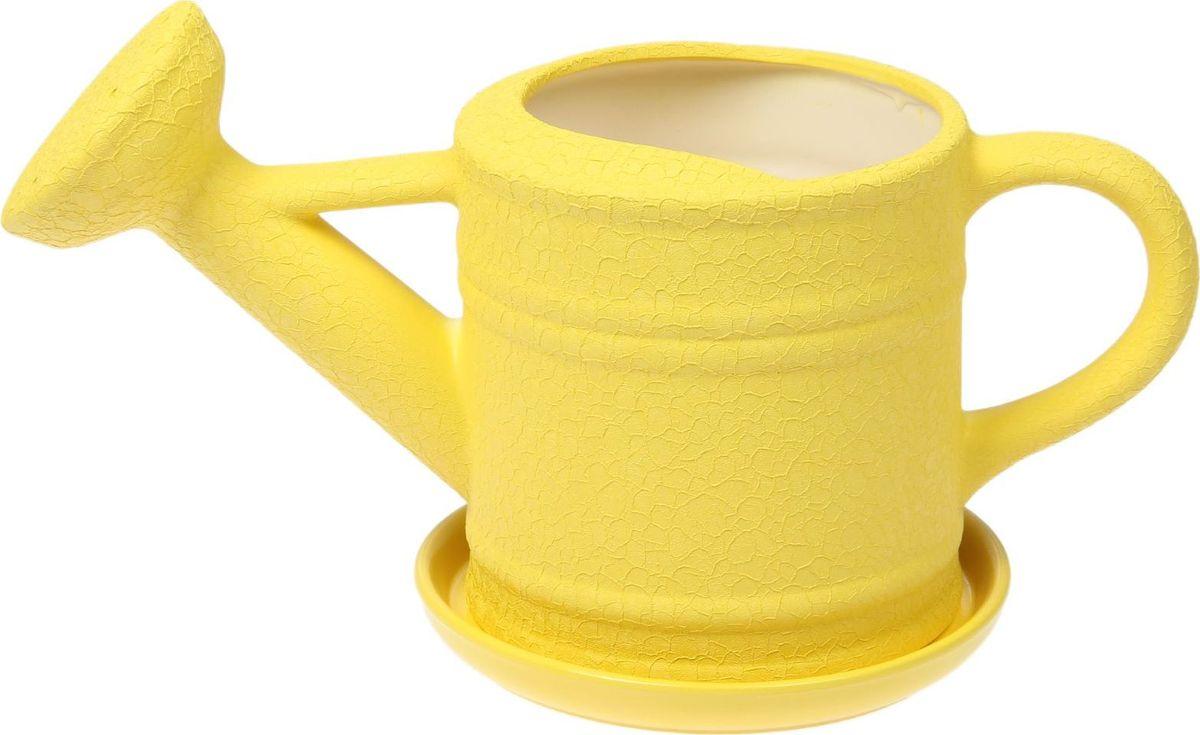 Кашпо Керамика ручной работы Лейка, цвет: желтый, 2,5 л1489638Комнатные растения — всеобщие любимцы. Они радуют глаз, насыщают помещение кислородом и украшают пространство. Каждому из них необходим свой удобный и красивый дом. Кашпо из керамики прекрасно подходят для высадки растений: за счёт пластичности глины и разных способов обработки существует великое множество форм и дизайновпористый материал позволяет испаряться лишней влагевоздух, необходимый для дыхания корней, проникает сквозь керамические стенки! #name# позаботится о зелёном питомце, освежит интерьер и подчеркнёт его стиль.