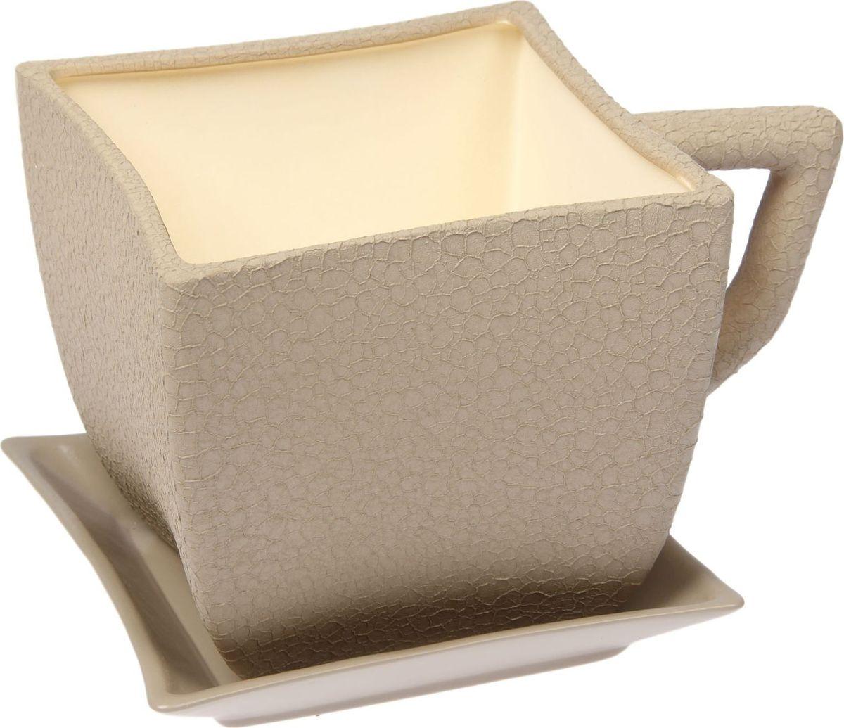 Кашпо Керамика ручной работы Чашка. Квадрат, цвет: капучино, 2,5 л1489645Комнатные растения — всеобщие любимцы. Они радуют глаз, насыщают помещение кислородом и украшают пространство. Каждому из них необходим свой удобный и красивый дом. Кашпо из керамики прекрасно подходят для высадки растений: за счёт пластичности глины и разных способов обработки существует великое множество форм и дизайновпористый материал позволяет испаряться лишней влагевоздух, необходимый для дыхания корней, проникает сквозь керамические стенки! #name# позаботится о зелёном питомце, освежит интерьер и подчеркнёт его стиль.