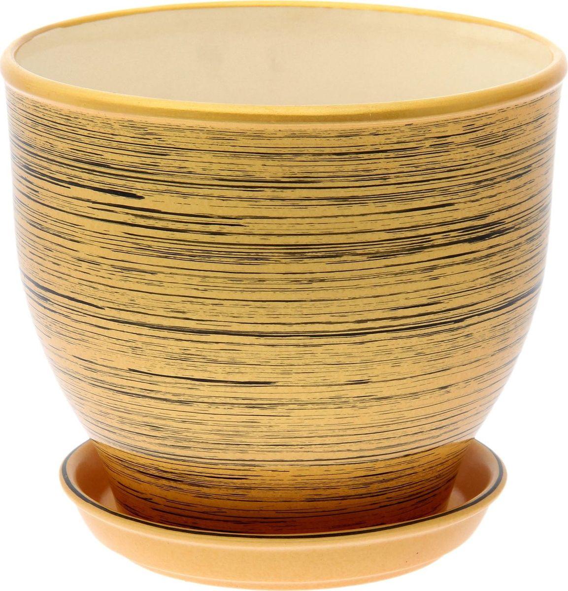 Кашпо Керамика ручной работы Виктор. Глянец, цвет: черный, золотой, 4 л
