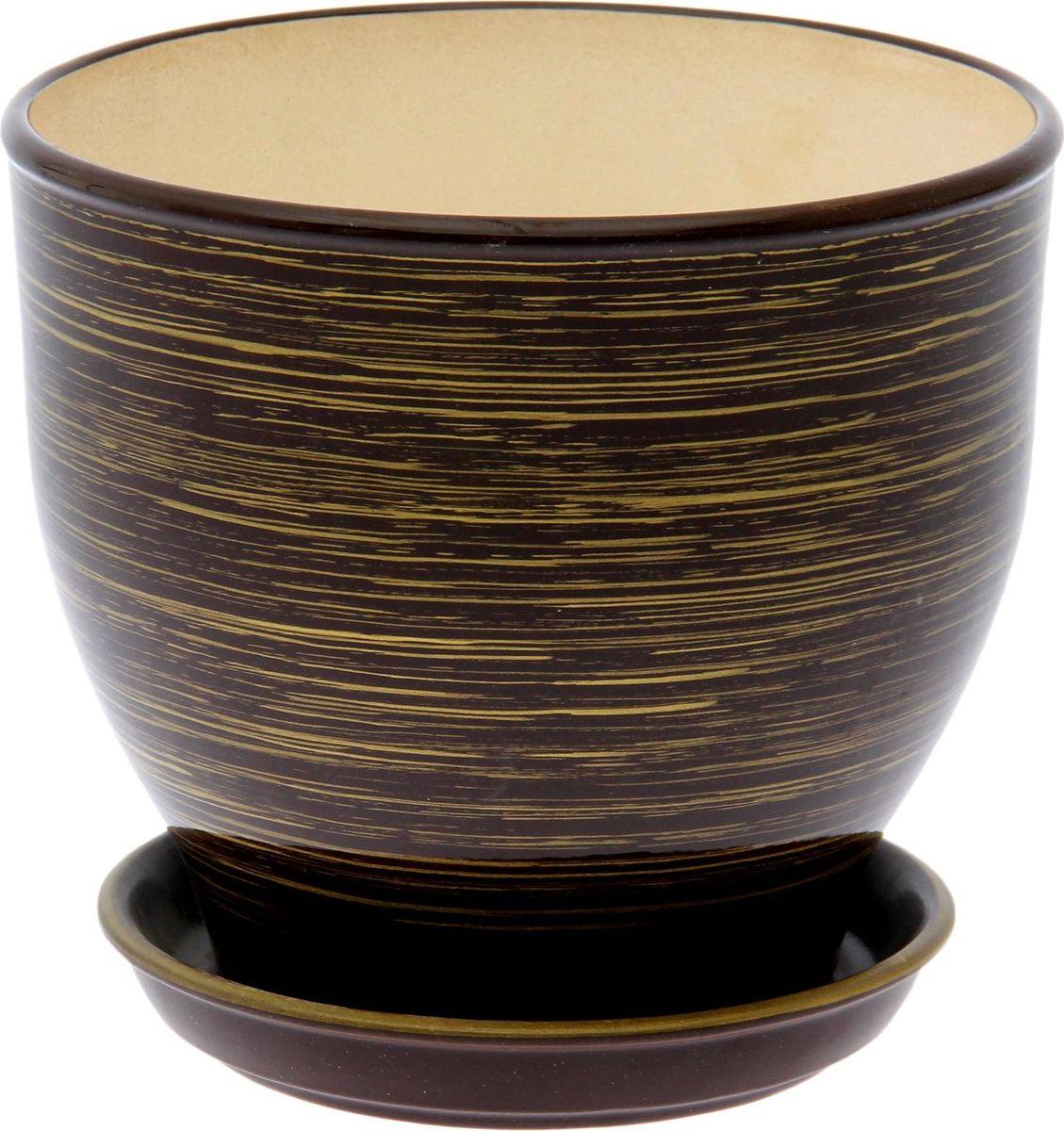 Кашпо Керамика ручной работы Виктор. Глянец, цвет: шоколадный, золотой, 4 л1489659Комнатные растения — всеобщие любимцы. Они радуют глаз, насыщают помещение кислородом и украшают пространство. Каждому из них необходим свой удобный и красивый дом. Кашпо из керамики прекрасно подходят для высадки растений: за счёт пластичности глины и разных способов обработки существует великое множество форм и дизайновпористый материал позволяет испаряться лишней влагевоздух, необходимый для дыхания корней, проникает сквозь керамические стенки! #name# позаботится о зелёном питомце, освежит интерьер и подчеркнёт его стиль.