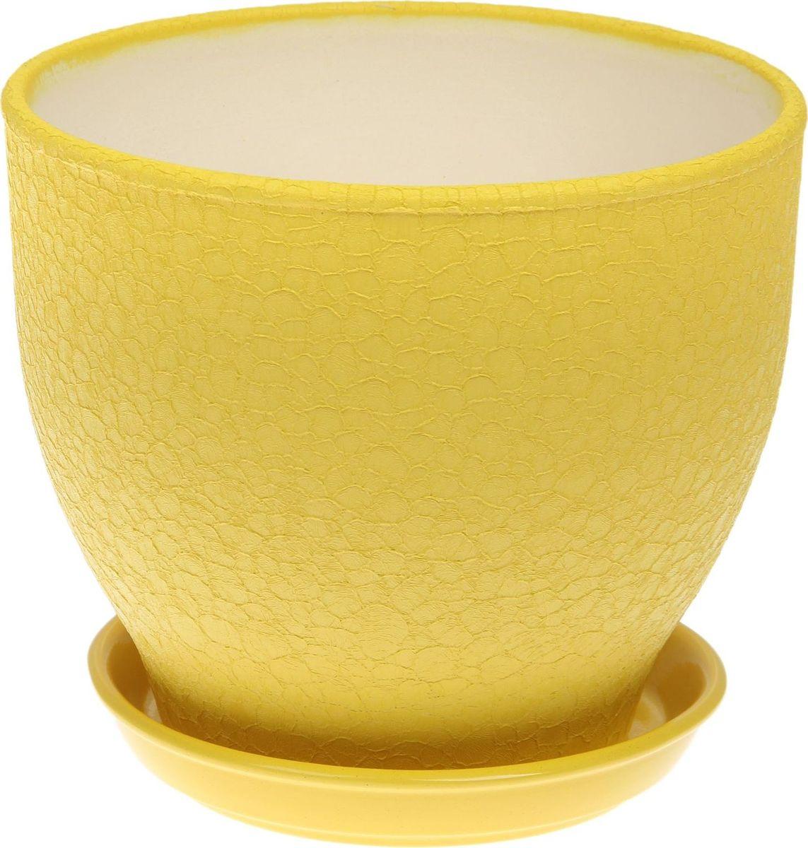 Кашпо Керамика ручной работы Виктор, цвет: желтый, 4 л1489660Комнатные растения — всеобщие любимцы. Они радуют глаз, насыщают помещение кислородом и украшают пространство. Каждому из них необходим свой удобный и красивый дом. Кашпо из керамики прекрасно подходят для высадки растений: за счёт пластичности глины и разных способов обработки существует великое множество форм и дизайновпористый материал позволяет испаряться лишней влагевоздух, необходимый для дыхания корней, проникает сквозь керамические стенки! #name# позаботится о зелёном питомце, освежит интерьер и подчеркнёт его стиль.