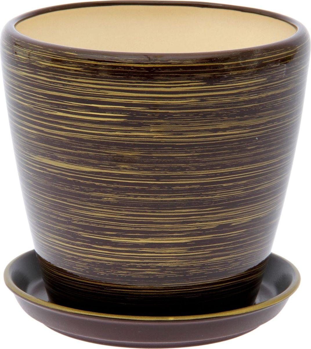 Кашпо Керамика ручной работы Грация. Глянец, цвет: шоколадный, золотой, 10 л1489672Комнатные растения — всеобщие любимцы. Они радуют глаз, насыщают помещение кислородом и украшают пространство. Каждому из них необходим свой удобный и красивый дом. Кашпо из керамики прекрасно подходят для высадки растений: за счёт пластичности глины и разных способов обработки существует великое множество форм и дизайновпористый материал позволяет испаряться лишней влагевоздух, необходимый для дыхания корней, проникает сквозь керамические стенки! #name# позаботится о зелёном питомце, освежит интерьер и подчеркнёт его стиль.