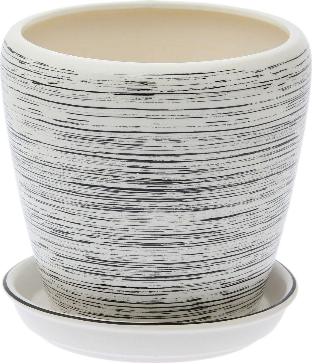 Кашпо Керамика ручной работы Грация. Глянец, цвет: черный, белый, 2,3 л1489677