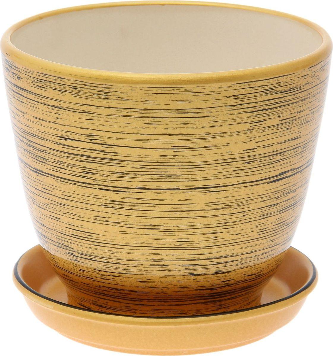 Кашпо Керамика ручной работы Кедр. Глянец, цвет: золотой, черный, 2,2 л1489691Комнатные растения — всеобщие любимцы. Они радуют глаз, насыщают помещение кислородом и украшают пространство. Каждому из них необходим свой удобный и красивый дом. Кашпо из керамики прекрасно подходят для высадки растений: за счет пластичности глины и разных способов обработки существует великое множество форм и дизайнов пористый материал позволяет испаряться лишней влаге воздух, необходимый для дыхания корней, проникает сквозь керамические стенки! позаботится о зеленом питомце, освежит интерьер и подчеркнет его стиль.
