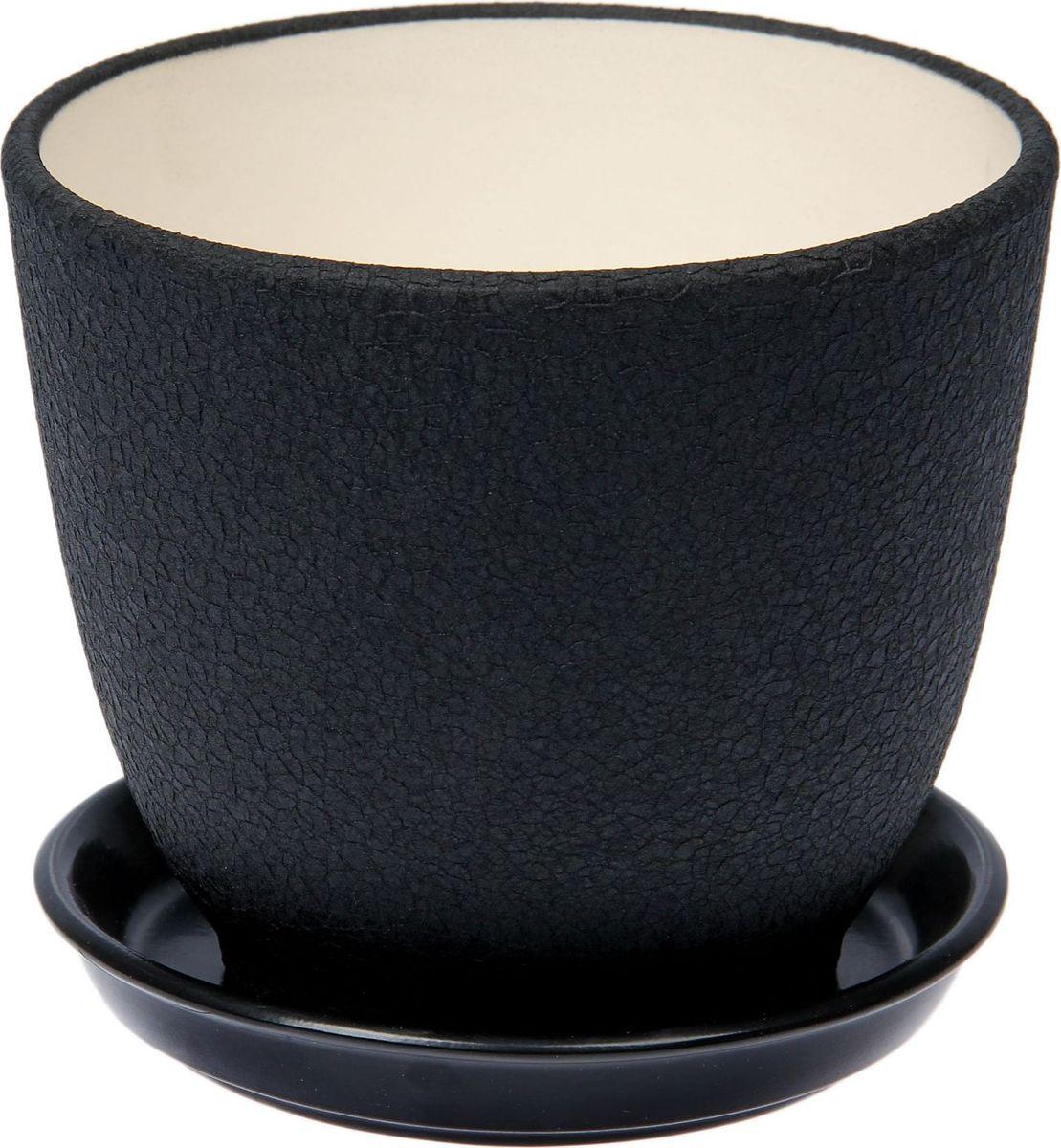 Кашпо Керамика ручной работы Кедр, цвет: черный, 1,6 л1489706Комнатные растения - всеобщие любимцы. Они радуют глаз, насыщают помещение кислородом и украшают пространство. Каждому из них необходим свой удобный и красивый дом. Кашпо из керамики прекрасно подходят для высадки растений:пористый материал позволяет испаряться лишней влаге;воздух, необходимый для дыхания корней, проникает сквозь керамические стенки. Кашпо Кедр позаботится о зеленом питомце, освежит интерьер и подчеркнет его стиль.