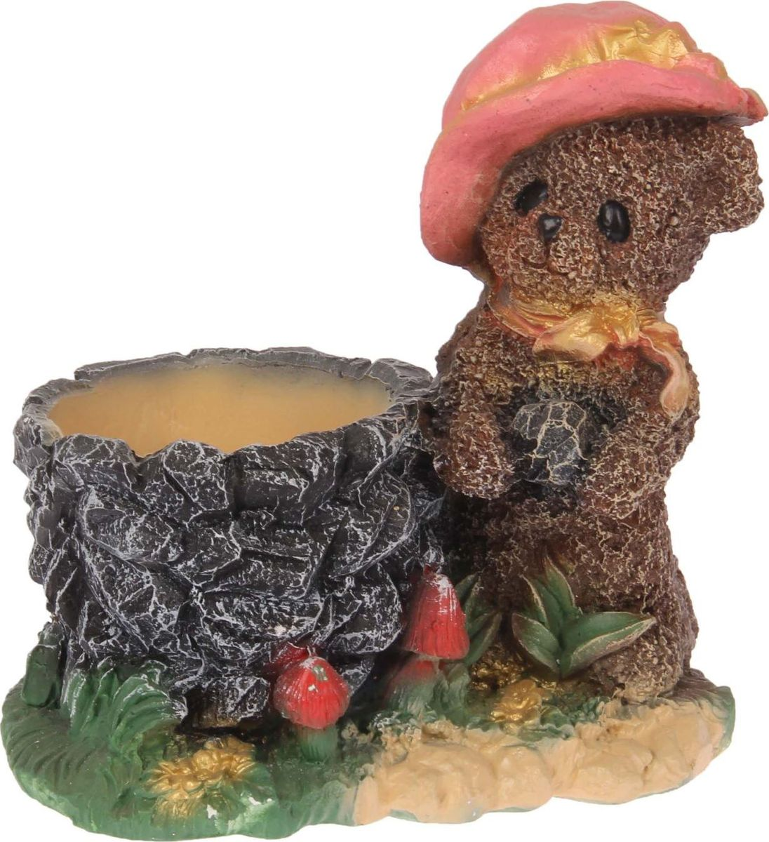 Кашпо Premium Gips Медведь в шляпе, 17 х 23 х 22 см1623343