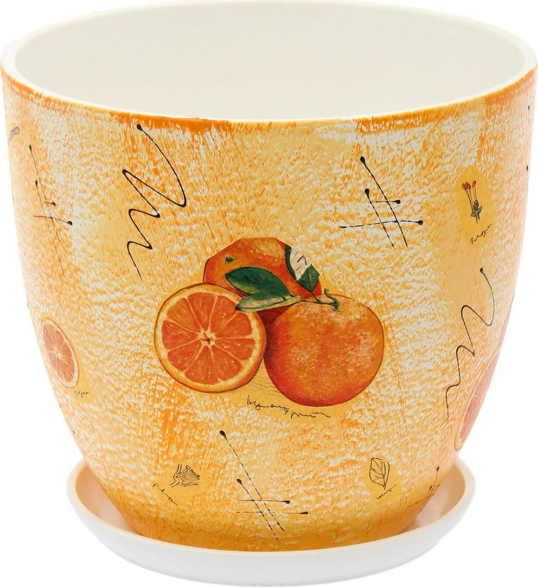 Кашпо Апельсин, 8,5 л1793181Комнатные растения — всеобщие любимцы. Они радуют глаз, насыщают помещение кислородом и украшают пространство. Каждому из них необходим свой удобный и красивый дом. Кашпо из керамики прекрасно подходят для высадки растений: за счет пластичности глины и разных способов обработки существует великое множество форм и дизайнов пористый материал позволяет испаряться лишней влаге воздух, необходимый для дыхания корней, проникает сквозь керамические стенки!Кашпо Апельсин позаботится о зеленом питомце, освежит интерьер и подчеркнет его стиль.