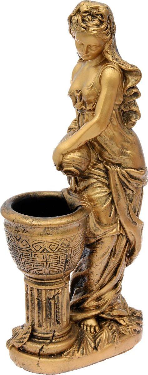 Кашпо Офелия с кувшином, цвет: бронзовый, 38 х 23 х 85 см1858506