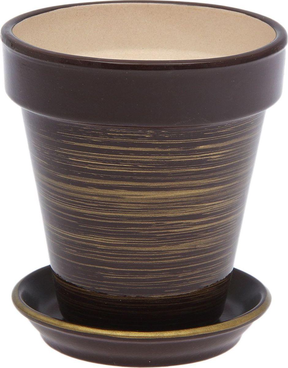 Горшок для цветов Керамика ручной работы Наперсток, цвет: шоколадный, золотой, 0,6 л1873501Комнатные растения — всеобщие любимцы. Они радуют глаз, насыщают помещение кислородом и украшают пространство. Каждому из них необходим свой удобный и красивый дом. Кашпо из керамики прекрасно подходят для высадки растений: за счёт пластичности глины и разных способов обработки существует великое множество форм и дизайновпористый материал позволяет испаряться лишней влагевоздух, необходимый для дыхания корней, проникает сквозь керамические стенки! #name# позаботится о зелёном питомце, освежит интерьер и подчеркнёт его стиль.