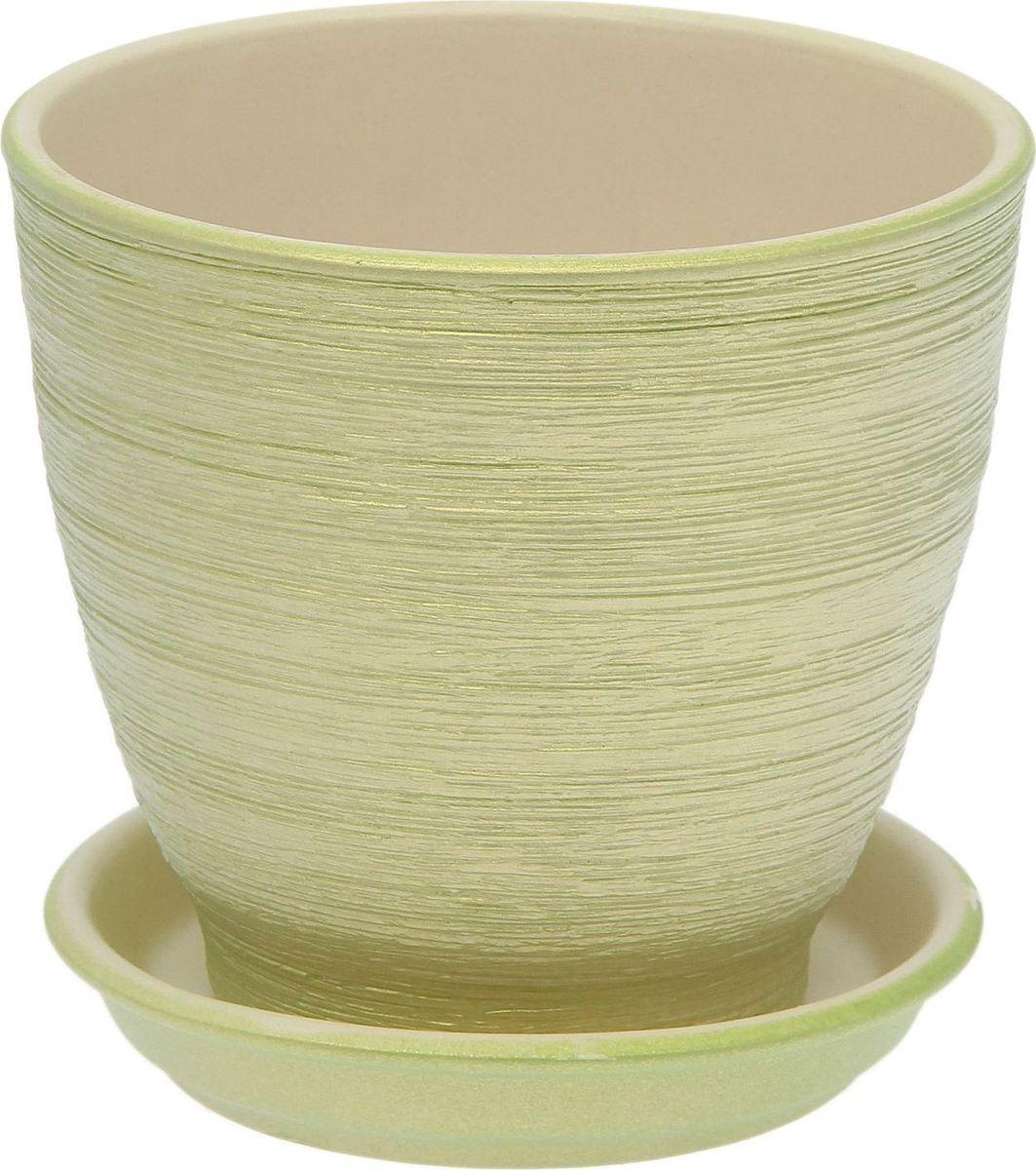 Горшок для цветов Керамика ручной работы Кедр, с поддоном, цвет: салатовый, 1,6 л1873509Горшок из керамики прекрасно подходит для высадки растений, пористый материал позволяет испаряться лишней влаге. Воздух, необходимый для дыхания корней, проникает сквозь керамические стенки.Горшок для цветов освежит интерьер и подчеркнёт его стиль.