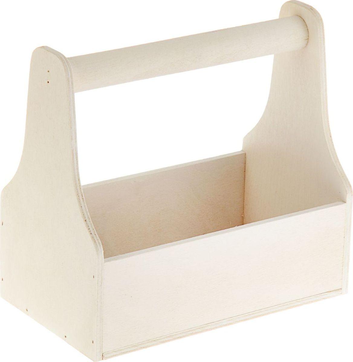 Кашпо ТД ДМ Ящик для инструментов, цвет: белый, 20 х 20 х 12,5 см кашпо тд дм ящик любовь флористическое 20 х 16 х 9 5 см