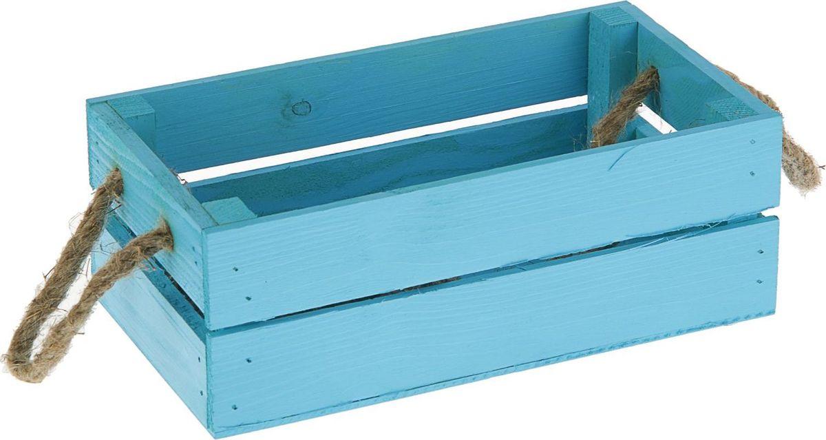 Кашпо Ящик, цвет: голубой, 24,5 х 13 х 9 см1876909