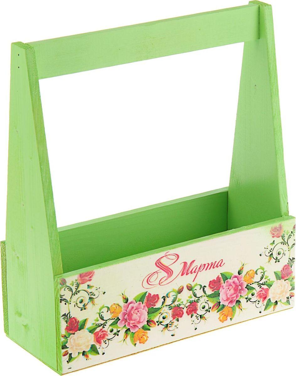 Кашпо Розы, флористическое, цвет: зеленый, 27 х 11 х 9 см1894599