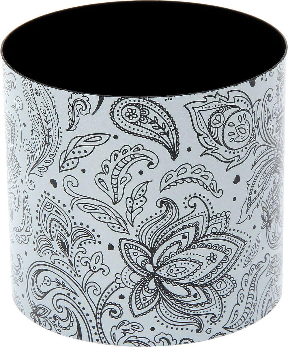 Горшок для цветов Simple Garden Орнамент, со скрытым поддоном, цвет: черный, белый, 1,7 л1915366